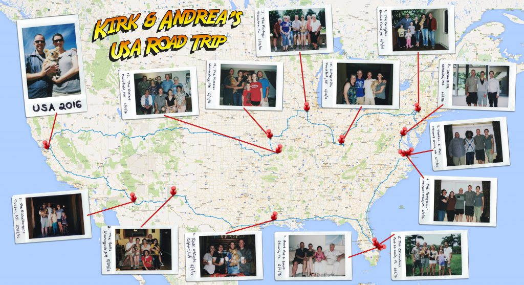 USA Road Trip Map 2016