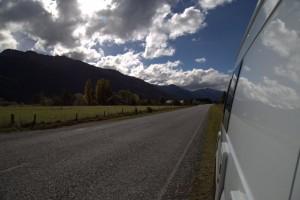 Looking at the road behind us