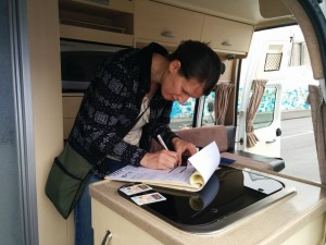 Signing for our Campervan